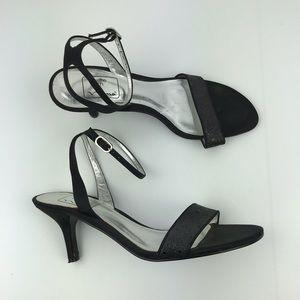 Women's Black Sparkle Strappy Heels size 7.5